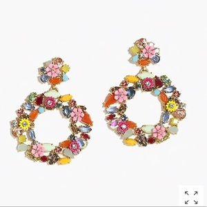 J.crew colorful floral hoop earring